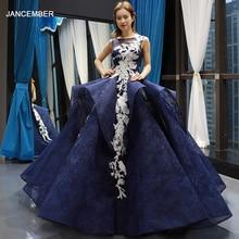 J66757 jancemberブルーquinceaneraのドレス 2020 ノースリーブアップリケフリル背中のvestidos dulces 16 платье фатин 2020