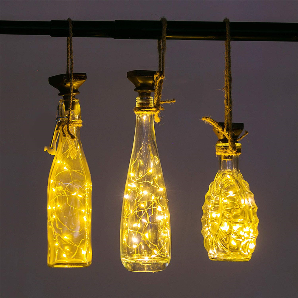 New 1PCS Solar  LED Cork Shaped 10 LED Night Fairy String Light Kork Solarbetrieben Licht Wine Bottle Lamp Party Celebration