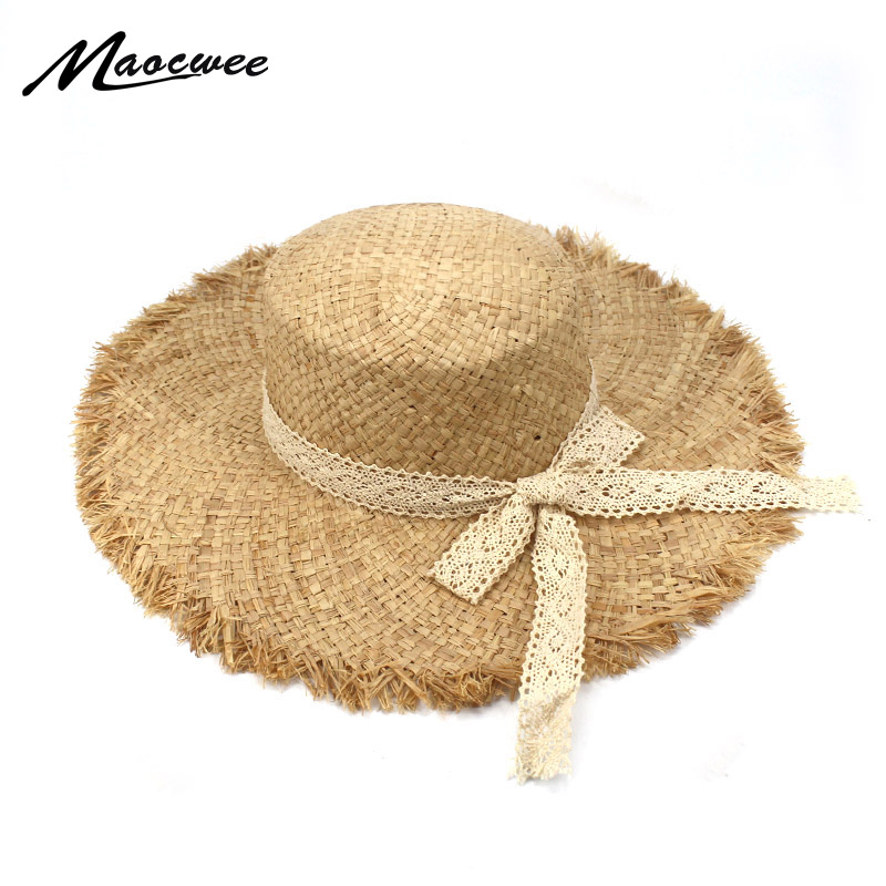 292f5479c US $10.99 30% OFF|Vintage Raffia Straw Hats Floppy Wide Large Sun Hat  Fashion Bow Ribbon Beach Hats Lovely Panama Summer Hat for Women and  Girl-in Sun ...