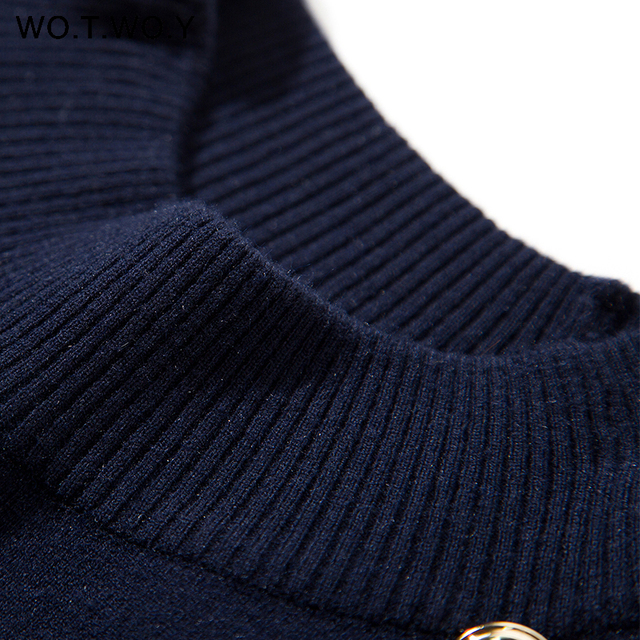 WOTWOY 2019 Knitted Cloak Sweater Women Casual Loose Shawl Autumn Winter Streetwear Poncho Women Sweater And Pullovers Plus Size 10