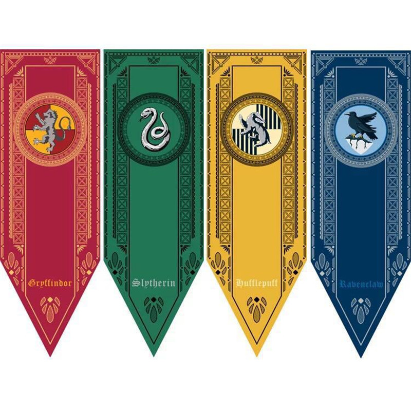 New Harri Potter Party Supplies College Flag Banners Gryffindor Slytherin Ravenclaw Kids Gift Toys Magic Cosplay Home Decoration