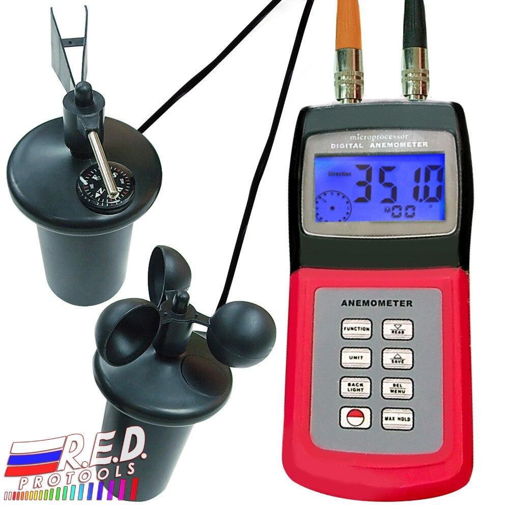 Anémomètre numérique multifonction Type de tasse sonde capteur Air météo compteur Direction du vent