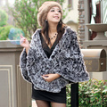 ZDFURS * autumn and winter ladies  fur shawl  knitted  rex rabbit fur shawl  rex rabbit fur cape free shipping