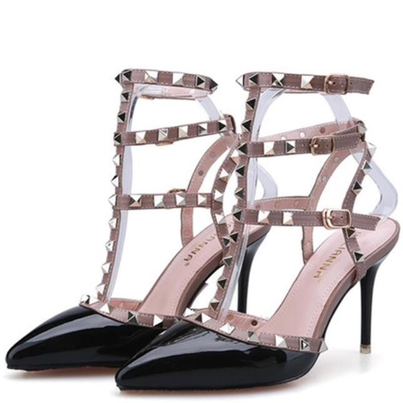 2017 USA Fashion Shoes Plus Size Pumps Women Sexy Pointed Toe High Heels Buckle Studded Sandals Sapato Feminino Shoes woman mavirs high heels hot sale spring brand women pointed toe shoes flock ladies pumps glitter suqare heels sapato feminino plus 653