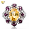 Hutang Natural Golden Citrine & Rhodolite Garnet Solid 925 Sterling Silver Rose Ring Fine Jewelry Women's Party Cocktail