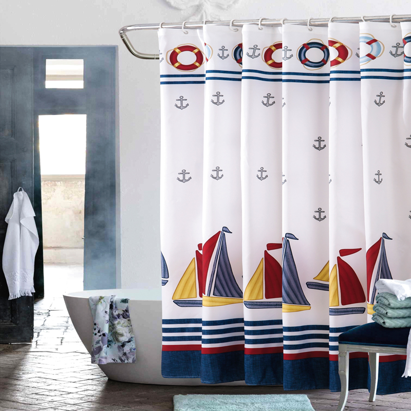 Shower Curtain Polyester Cloth Waterproof Moldproof Blue Anchor Ship Boat Bathroom Curtain 180x180cm/71x71 With 12 Hooks C63
