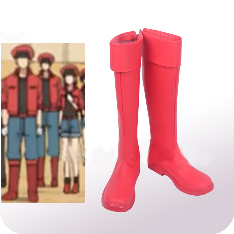 Cells At Work Erythrocite Red Blood Cell Cosplay Shoes Boots Halloween Carnival Cosplay Costume Accessories New Version