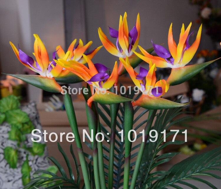 80CM x 3pcs PU Artificial Strelitzia Reginae Paradis Bird Flower Wedding Home Office Furniture Decor 3 Color F327