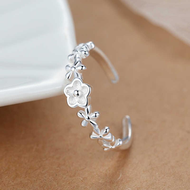 Bohemian Punk Real 925 เงินสเตอร์ลิงขนาดเล็กดอกไม้แหวนผู้หญิงเครื่องประดับขนาดใหญ่แหวนหมั้นแหวนของขวัญ