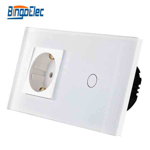 Hot Sale,Bingo Touch Switch With EU Type Socket,16A Germany Socket, Crystal Glass Panel