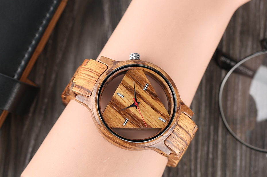 Unique Inverted Geometric Triangle Zebra Wood Watch Men Women Creative Hollow Dial Full Wooden Quartz Wristwatch Reloj de madera 2017 2018 Christmas Gifts Best Gifts (15)