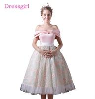 Pink 2018 Homecoming Dresses A Line Off The Shoulder Tea Length Backless Lace Elegant Cocktail Dresses