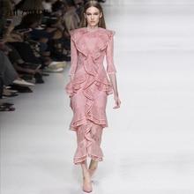 La MaxPa Pink extra long lace o collar ruffled half sleeve mermaid dress  party dress 6444b6220e91