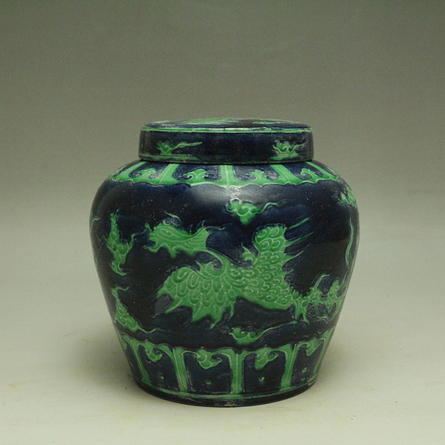 Ming dynasty Blue and Green color Phoenix Interlocking jar chinese ...