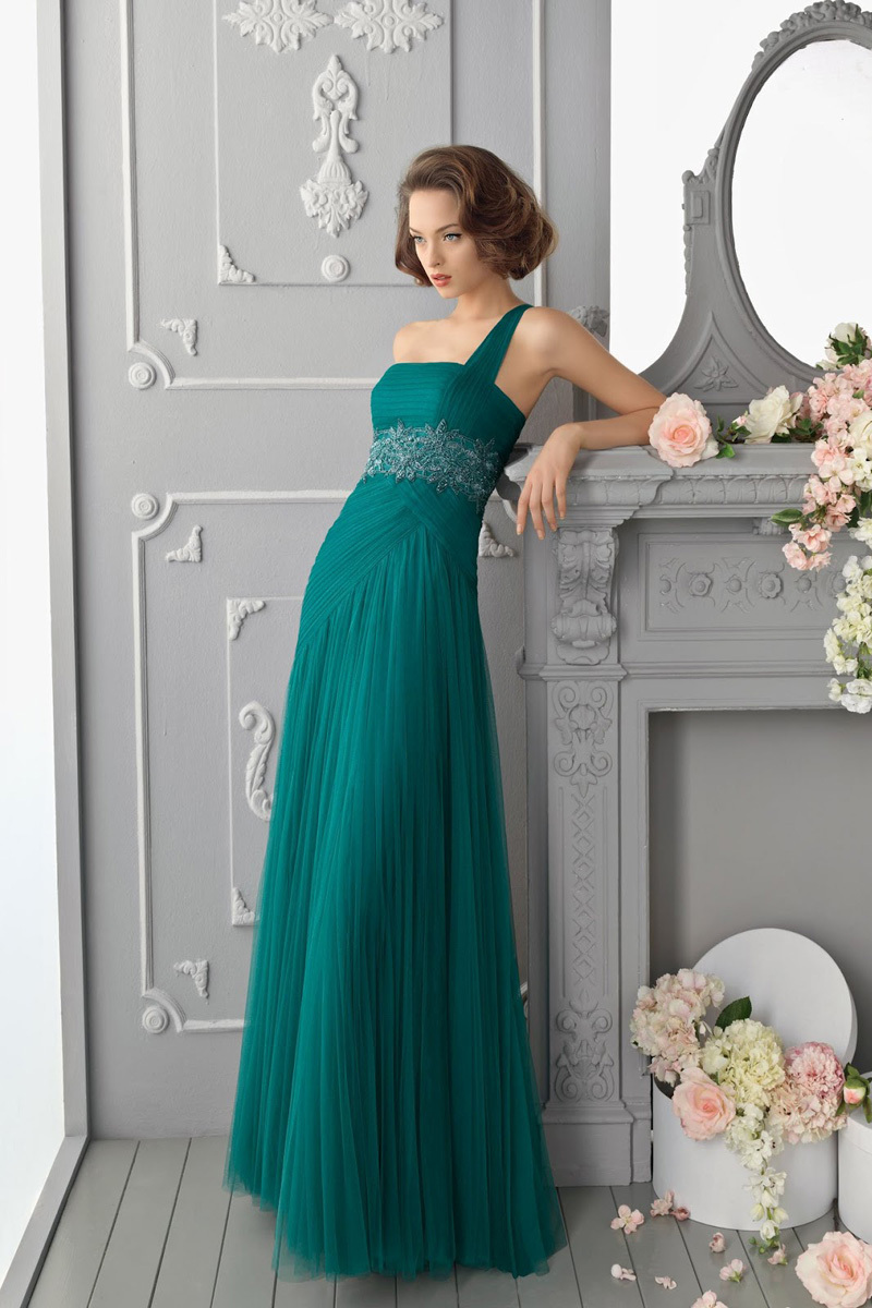 New Arrival Floor Length Pleat Green Prom Party Gown Elegant Long Beaded Waist Chiffon One Shoulder 2018   bridesmaid     dresses