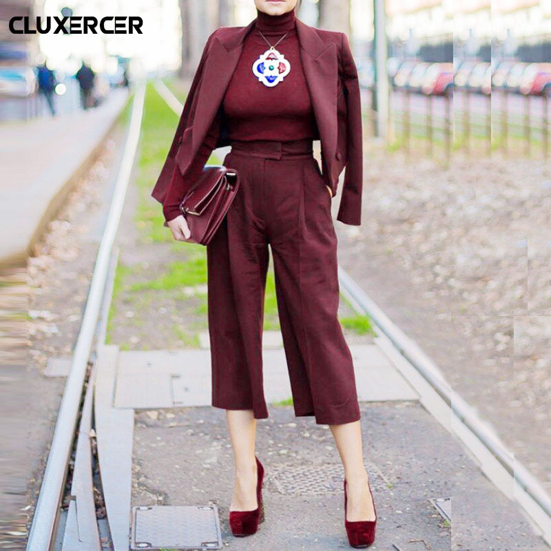 Work Pant Suits OL 2 Piece Sets Double Breasted Solid Blazer Jacket & Zipper Trousers Suit For Women Outfits Two piece set