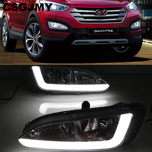 Image 1 - רכב מהבהב 2pcs DRL ליונדאי סנטה פה IX45 2013 2014 2015 נהיגה בשעות היום ריצת אור ערפל מנורת ממסר LED אור יום סגנון
