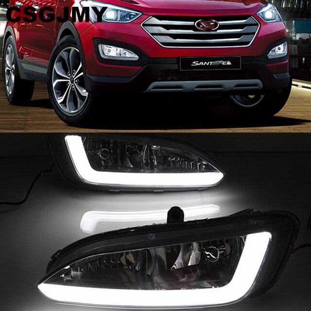 רכב מהבהב 2pcs DRL ליונדאי סנטה פה IX45 2013 2014 2015 נהיגה בשעות היום ריצת אור ערפל מנורת ממסר LED אור יום סגנון