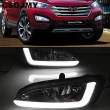 Araba yanıp sönen 2 adet DRL Hyundai Santa Fe için IX45 2013 2014 2015 sürüş gündüz koşu işık sis lambası röle LED günışığı tarzı