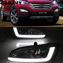 Carro piscando 2 pçs drl para hyundai santa fe ix45 2013 2014 2015 condução diurna running luz de nevoeiro relé da lâmpada led luz do dia estilo