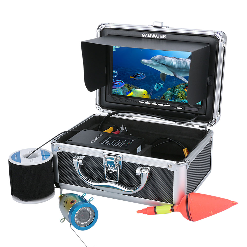 GAMWATER 7 Inch HD 1000tvl Underwater Fishing Video Camera Kit 12 PCS White LEDs Video Fish Finder 15M 20M 30M 50M