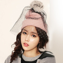Winter hat children Ms. Han Banchao winter warm lovely rabbit hair knitted cap hat Mao Xianmao ball