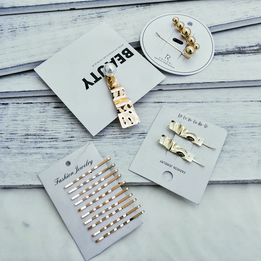 MAA-OE 2019 Fashion Golden Geometric Artificial Pearl Hair Clips For Women Girls New Korea Hairpins Set Female Hairwear Jewelry(China)