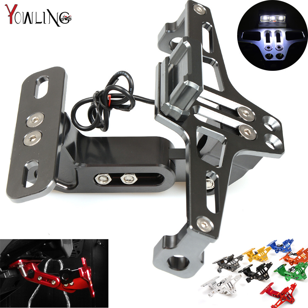Motorcycle License Plate Bracket Licence Plate Holder Frame Number Plate for Yamaha R3 R25 YZF R1 YZF R6 T-MAX500 TMAX530 MT-10 motorcycle part black license plate tag holder bracket for yamaha yzf r6 2006 2012 for suzuki boulevard m109r 2006 2011