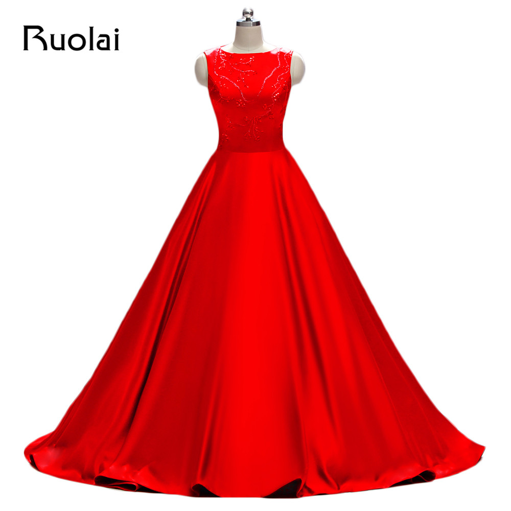 Real Photo High Quality Red Prom   Dresses   Long Satin Beading Sequined   Evening     Dresses   2019 Robe de Soiree Vestido de Festa PD14