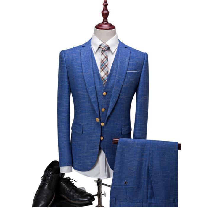 (Jacket+Vest+Pants) Men's Suits British Style Men's Fashion Wool Suit Men Leisure Single Button Wedding Suits Mens Formal Wear