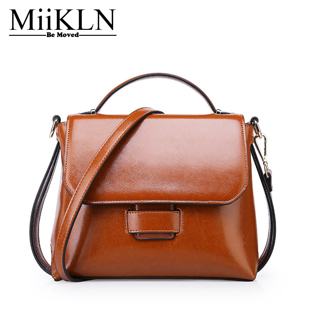 MiiKLN Small Messenger Flap Bags Cow Leather Women Handbags Genuine Leather Shoulder Crossbody Ladies Bag Solid Zipper 2017 summer metal ring women s messenger bags solid scrub leather women shoulder bag small flap bag casual girl crossbody bags