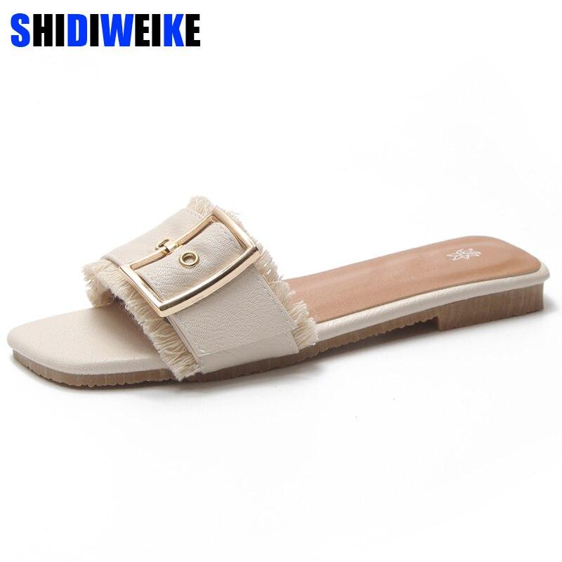 Cozy Shoes Women Summer Buckle Belt Square Toe Slides Fur Fringe Flip Flops Women Fashion Flat Slippers Outside Ladies Shoes