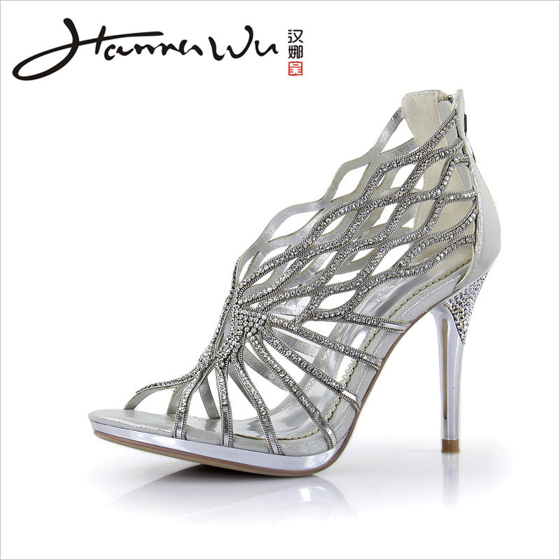 92436a3b158b Effulgent silver rhinestone Strappy high heels summer fashion women shoes  Gladiator wedding shoes