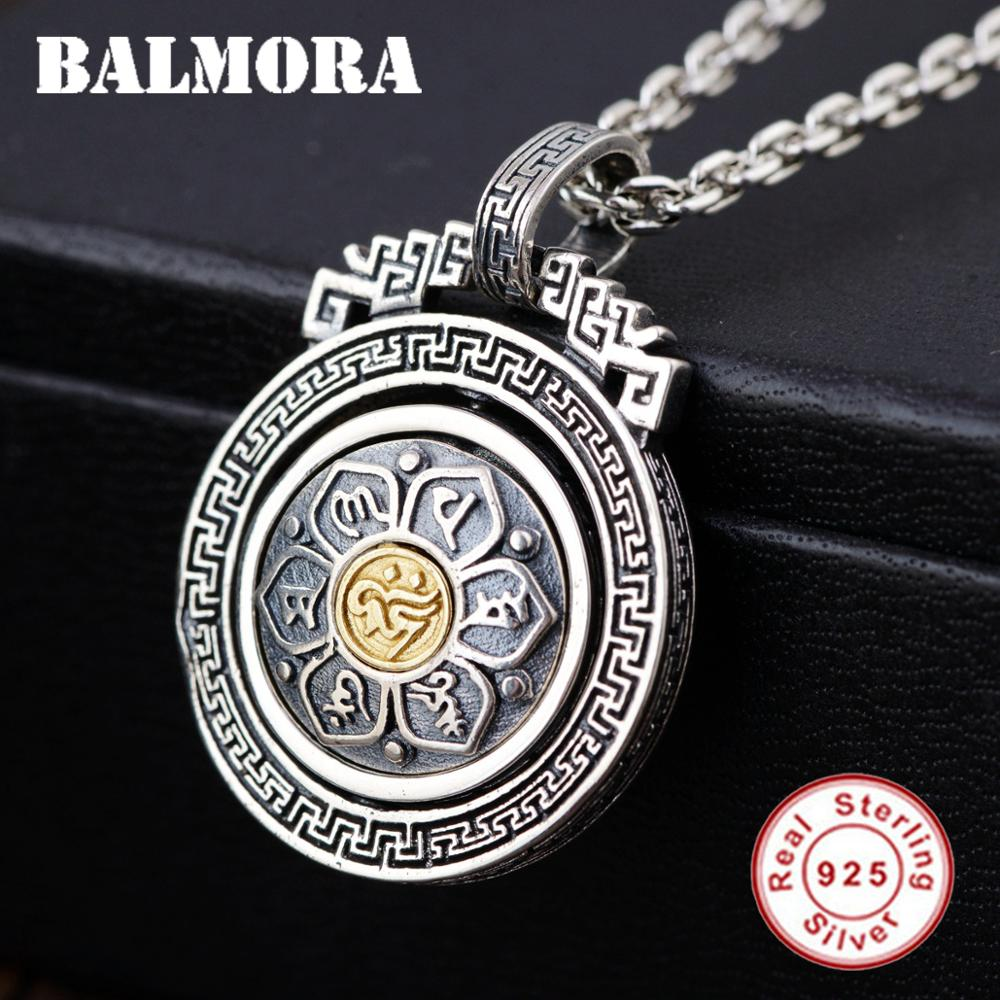 BALMORA 925 Sterling Silver 360 Rapid Rotating Six Words Sutra Pendants for Women Men Buddhism Jewelry