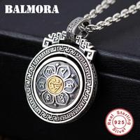 BALMORA 925 Sterling Silver 360 Rapid Rotating Six Words' Sutra Pendants & Pendant Necklace for Women Men Buddhism Jewelry