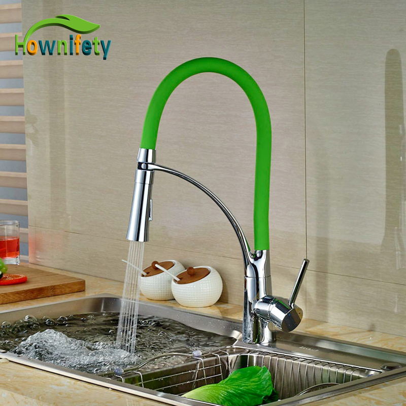 Colorful Kitchen Faucet Brass Chrome Polish Deck Mounted Swivel Spout Hot And Cold Water Faucet 360 swivel kitchen sink faucet polish chrome brass deck mounted tap stream pull out spout contemporary hot
