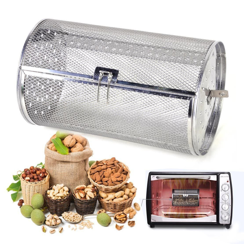 11.7*22CM Stainless Steel Oven Drum Parts Grilled Cage Rotary Oven Mesh Barbecue Roasted Coffee Bean Nut Walnut Roaster Cage