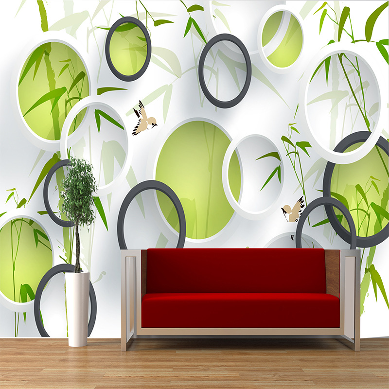 Custom Fashion Seamless Large 3D Mural Personality Solid Wreath Bamboo Living Room TV Sofa Bedroom modern style Background in Wallpapers from Home Improvement