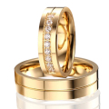 1 Pair Lover's Gold Plated Engagement Ring with 9 CZ for Ladies 6mm Simple Wedding Ring Set for Male Hot Alliance in Brasil