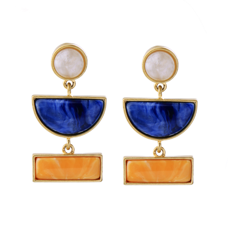 Sample Fashion Sky Blue Half Moon Earring Charming Simulated Pearl Earring Jewelry