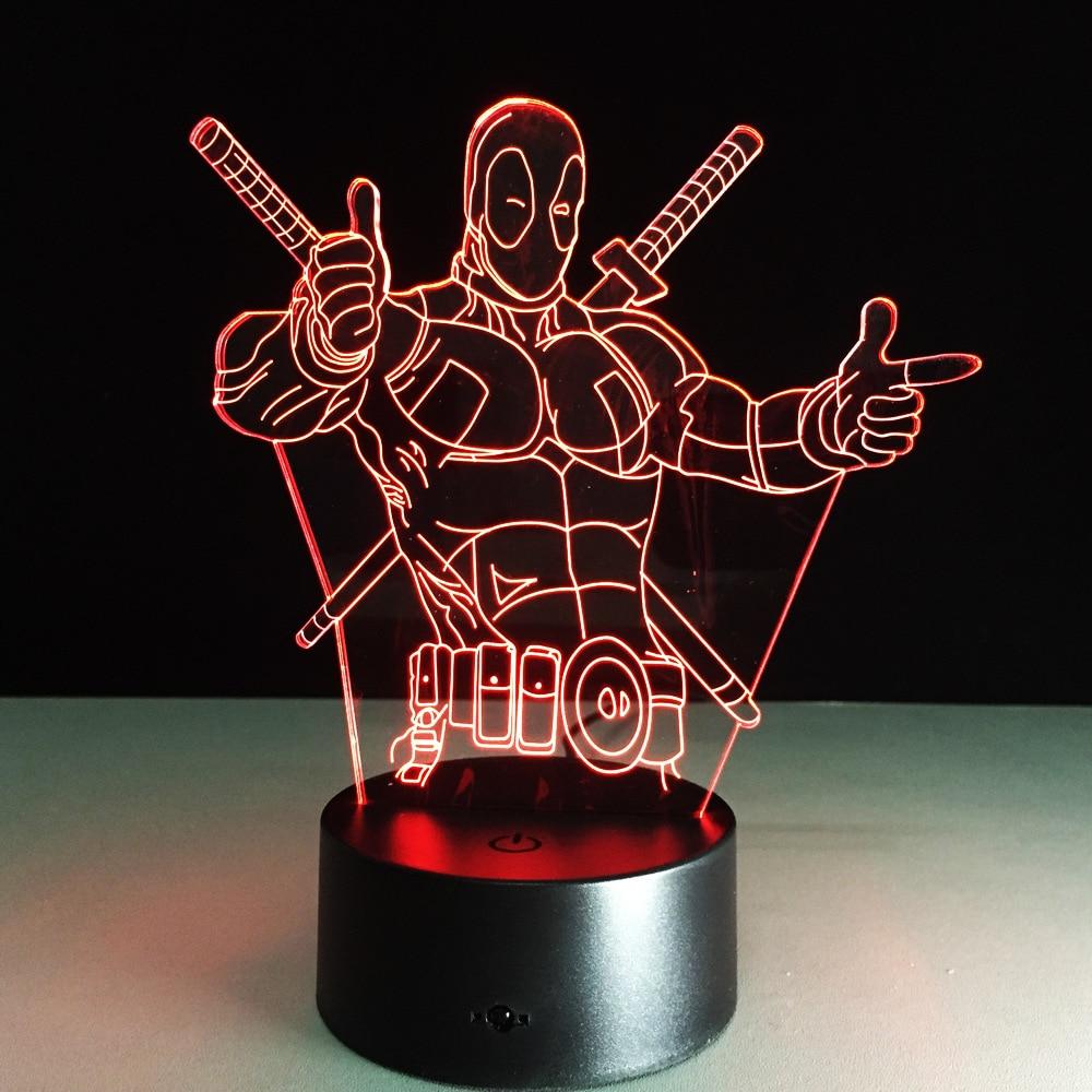 Исследование новые акриловые лампа ночник Дэдпул креативный подарок кристалл лампы USB LED Таблица Настольная Lampara как Домашний Декор