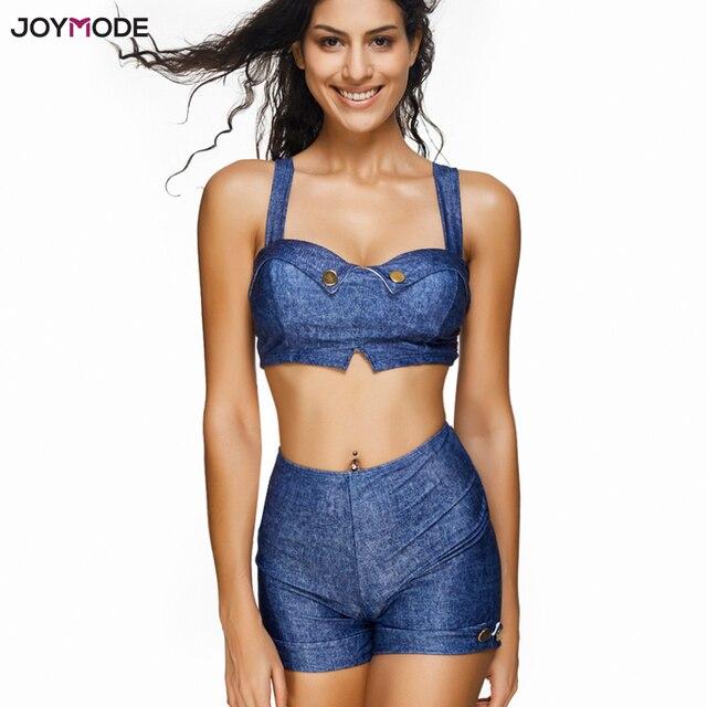 8afdfa65fc JOYMODE Two Pieces Tankini Swimsuit Girls Denim Blue Bathing Suit Solid  High Waist Biquini Push Up Underwire Bra Swim Wear 3XL