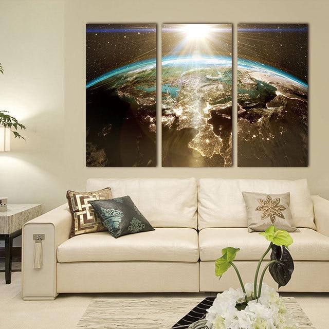 Superbe Carte Du Monde Peinture Sur Toile Mur Modulaire Image Pour Salon Classique  Europe Type Aquarelle Décoration