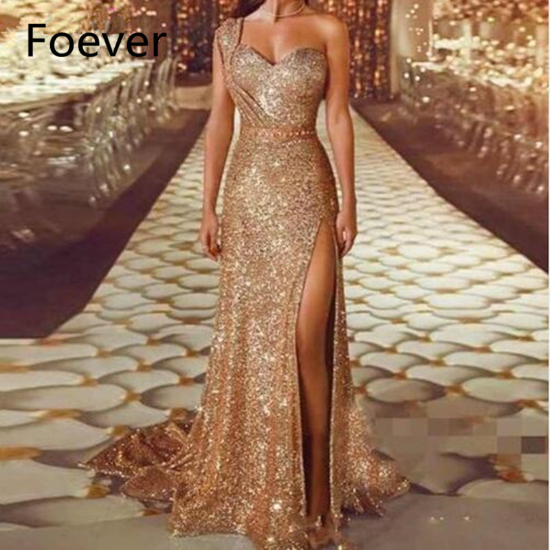 Sexy haute jambe une épaule cristal Sequin robe or robes de bal longue 2019