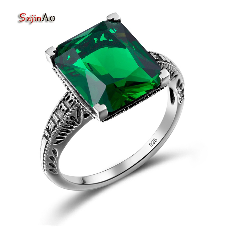 szjinao charms 3ct green crystal cz love ring for wedding luxury gothic 925 sterling silver rings