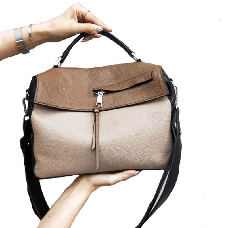 Fashion Genuine Leather Women Bag Women's Handbag  Lady's Stitched Messenger Bag Luxury Designer Crossbody Bags For Women ToteS