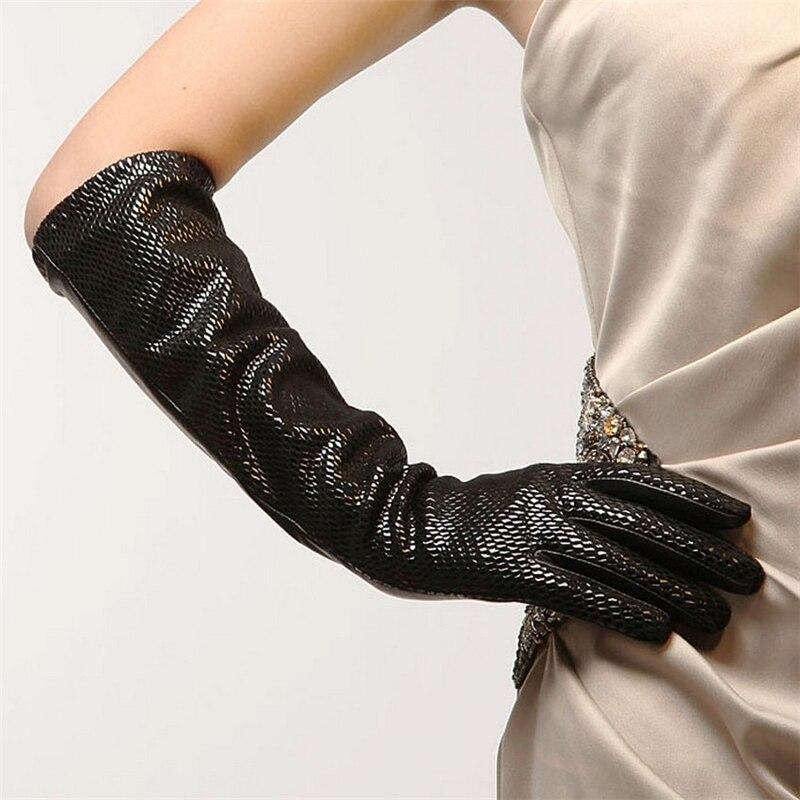 Mode peau de serpent motif marque gants en cuir véritable noir femmes gants en peau de mouton hiver cinq doigts conduite gant L041NN-5