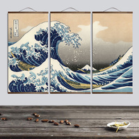 Canvas Painting Wall Art Japanese Style Ukiyo e Kanagawa Surf Canvas Vintage Posters Wall Pictures for living room Scroll Frame