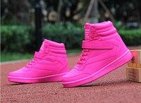 Akexiya Nueva primavera otoño tobillo botas tacones zapatos rosados de las mujeres zapatos casuales altura aumento high top zapatos para adultos de TAMAÑO 35-40