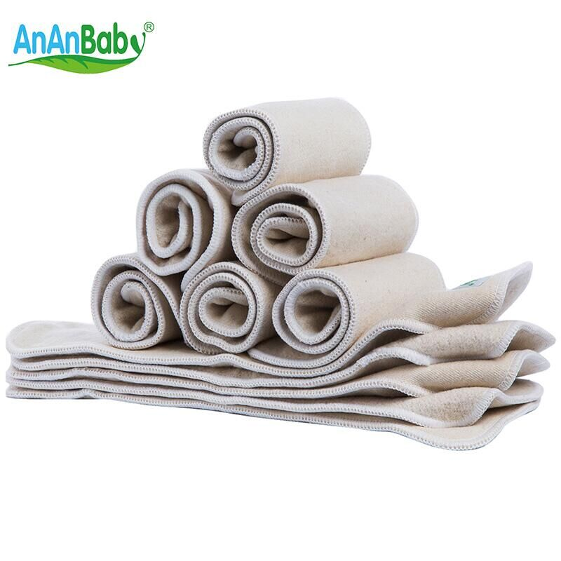 Ananbaby Infant Cloth Diapers Hemp & Organic Cotton Inserts 4 Layers Reusable nappies Liner Baby Cloth Diaper Nappy 5pcs HA028K